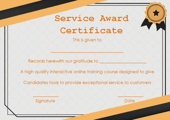 Customer Service Award Certificate 10 Templates That Give You Perfect Words To Award Template Sumo In 2020 Service Awards Award Template Award Certificates