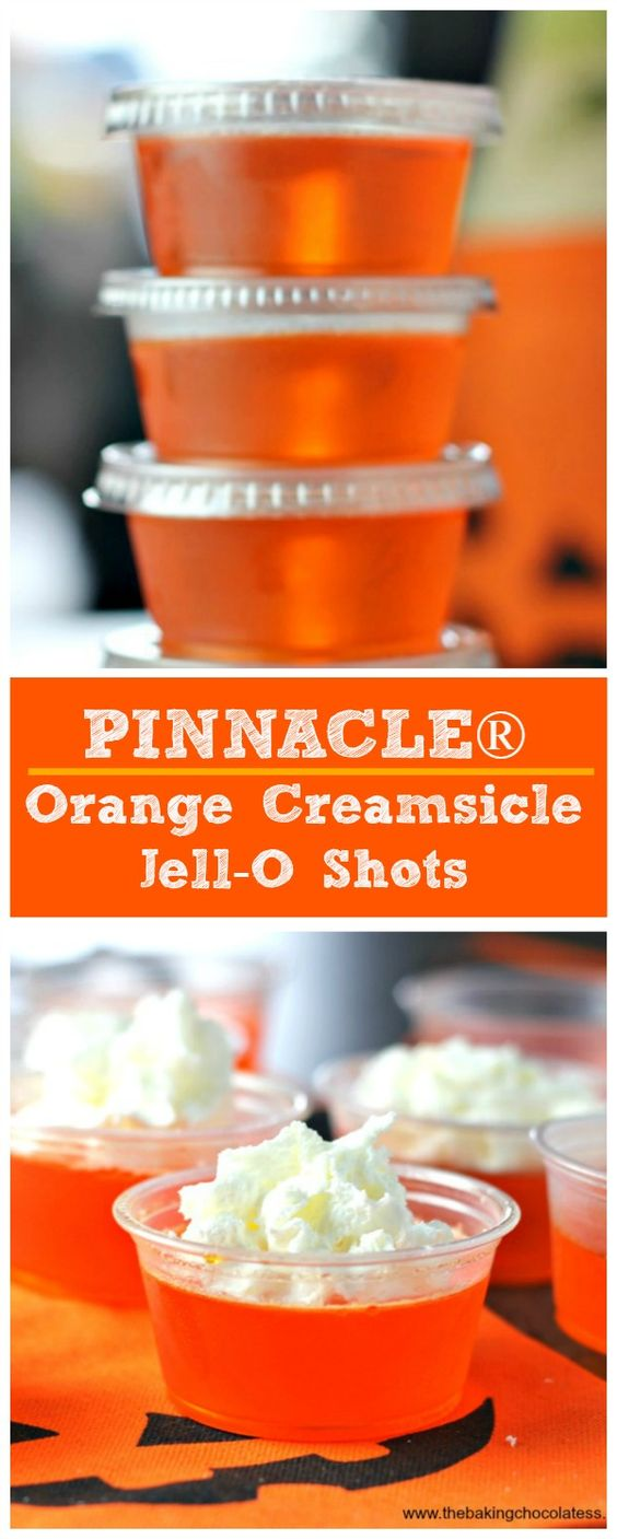 ... Orange Creamsicle Jell-O Shots | http://www.thebakingchocolatess.com