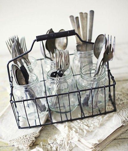 silverwear in jars: Cutlery Holder, Utensil Holder, Table Setting, Party Idea, Milk Bottle, Silverware Holder