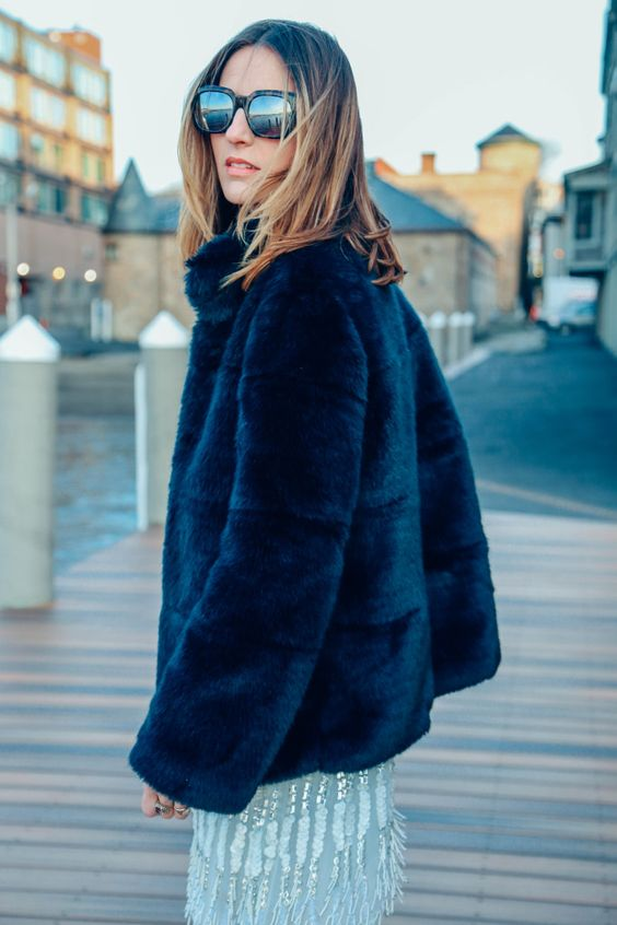 What to Wear for NYE Outfit Ideas // Eliza and James Roosevelt Mirrored Sunglasses and Zara Blue Faux Fur Coat: