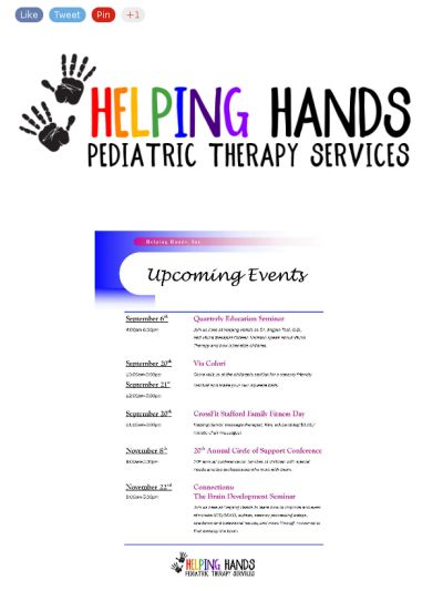 Time to get ready for another exciting fall at Helping Hands! Our staff is gearing up for not only the new school year, but also for these fun and educational events that we are honored to be a part of. For more information on how you can attend one of these events, contact our office!