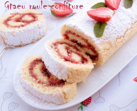 Bonjour voici un gateau roule garni de confiture de fraise un gateau simple et d licieux - Recette de gateau pour le gouter ...