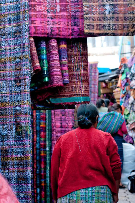 Handmade Guatemalan textiles for sale at San Francisco El Alto Market.