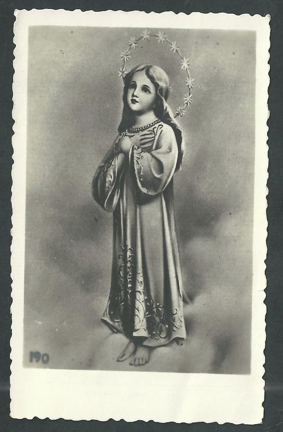 Estampa antigua de la Virgen Niña andachtsbild santino holy card santini