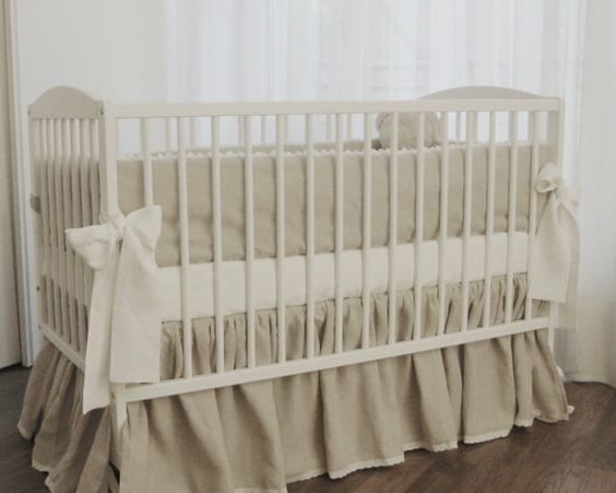 This is the bedding I want for Christmas!!!! Linen crib  bedding  gathered skirt and 4 side by MoodsStore, $250.00
