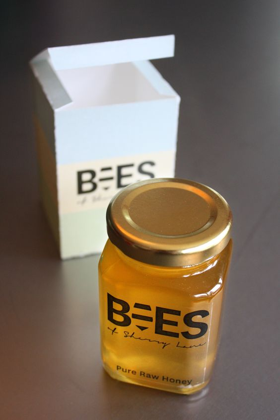 Bees of Sherry Lane honey and packaging