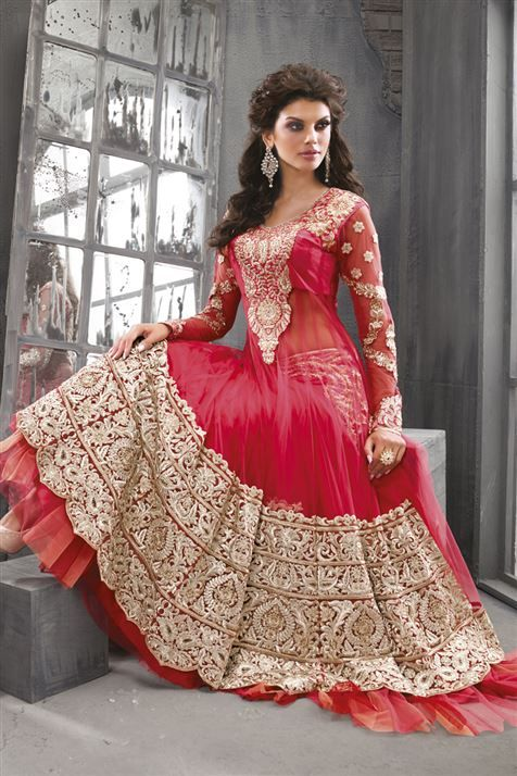 Image result for red heavy work anarkali dress photo