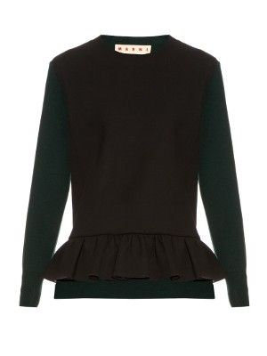 Long-sleeved ruffled-hem wool-blend sweater | Marni | MATCHESFASHION.COM UK