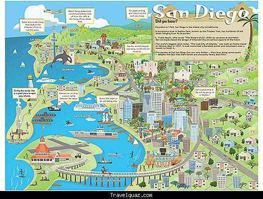 San Diego Map Tourist Attractions San Diego Travel San Diego