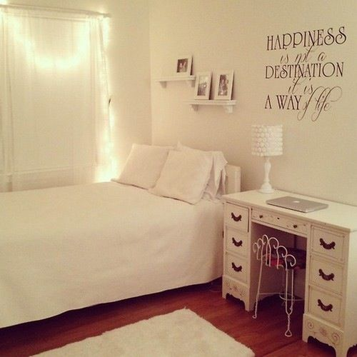 fairy lights and a personal quote in vinyl can brighten up a simple white room - Basic Bedroom Ideas