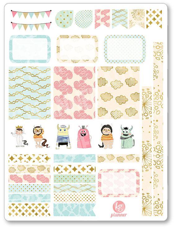 Wild Things Decorating Kit / Weekly Spread Planner Stickers for Erin Condren Planner, Filofax, Plum Paper
