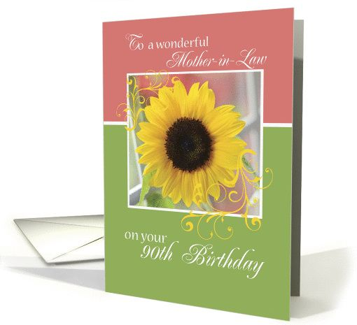 Mother In Law 90th Birthday Sunflower Card Birthday Cards For Friends Happy 90th Birthday Birthday Cards For Mom
