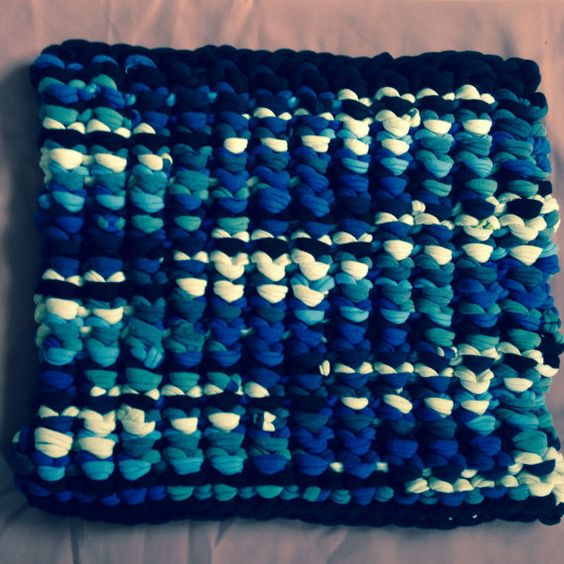 Knitted T-shirt Rug works great as bath mat kitchen by SavedbyKate