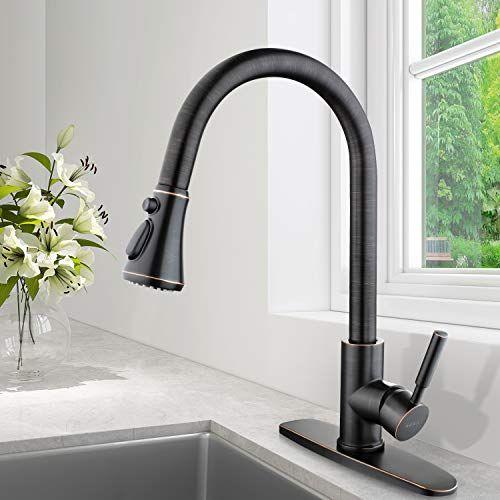 Soka Sk5002qp Pull Down Kitchen Faucet With Sprayer High Arc Aquablade Sweep Stream Spray T Kitchen Faucet With Sprayer Bronze Kitchen Faucet Kitchen Faucet