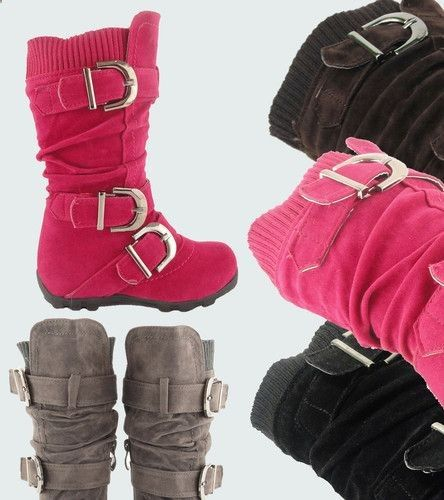 Toddlers Flat Slouch Knee High Boots Faux Suede Cute Girl Shoes Buckles Knit Top | eBay