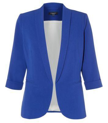 Petite Blue Crepe Blazer