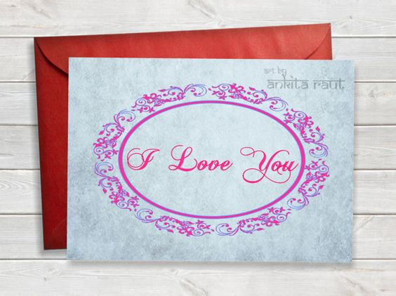 Printable I Love You Card, Printable Love Card, Calligraphy Card - marriage proposal template