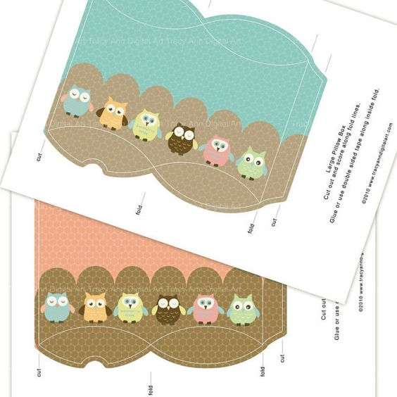 Owl printable pillow boxes sophie owl box favor boxes for Owl pillow box template