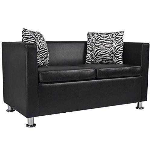 Vidaxl Modern Black Artificial Leather Sofa 2 Seater Living Room Furniture W 2 Pillows Faux Leather Sofa Best Leather Sofa Living Room Leather