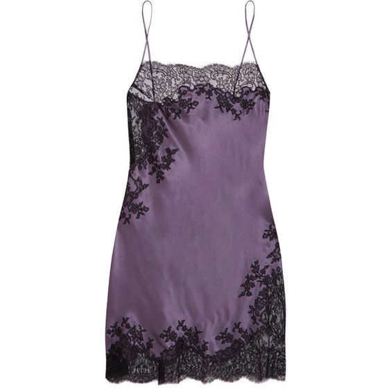 Carine Gilson Chantilly lace-trimmed silk-satin chemise (1 558 AUD) ❤ liked on Polyvore featuring intimates, chemises, dark gray, lace trim slip, lace trim chemise, carine gilson and chemise slip