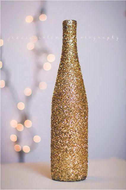 botella de vino reciclada navidad purpurina