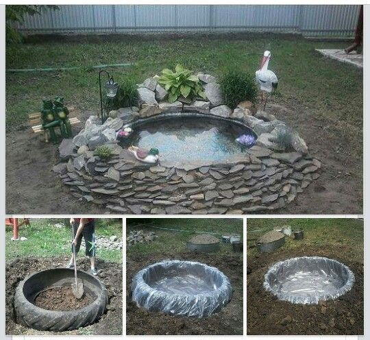 Fish Pond Made Out Of Tractor Tire Yard Pinterest