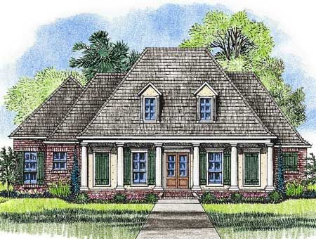 Plan 14177kb acadian home plan with outdoor living room for Southern architectural styles