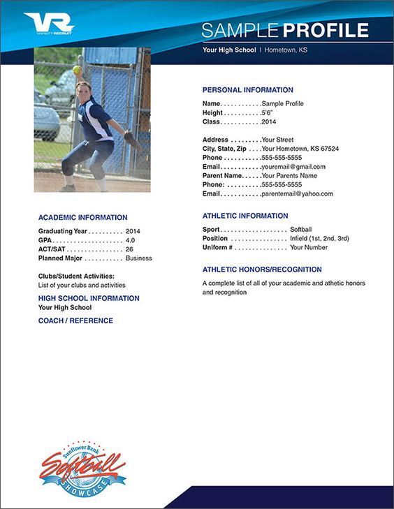 Softball profile sample sample profile softball for Sports profile template