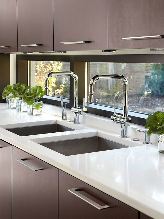 Fill A Small Kitchen With Light By Using Windows As A Backsplash More Custom Touches For Small Kitchens Ht Kitchen Window Design Small Kitchen Kitchen Design