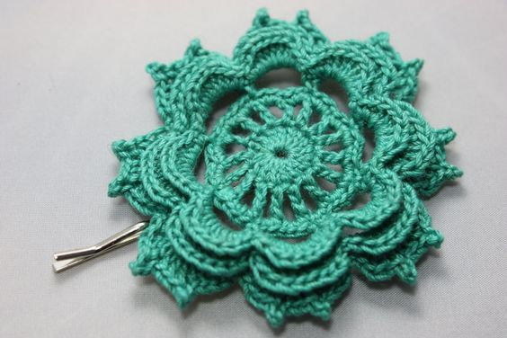Crochet Hair Jewelry : Crochet Hair Pin in Emerald Hair, Crochet hair and Accessories