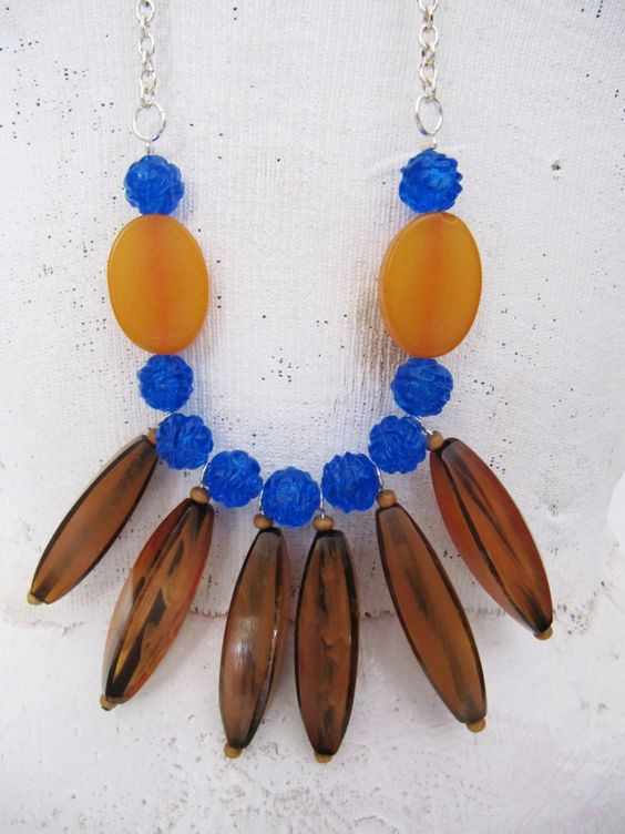 Long Statement Necklace | Bib Necklace | Amber Color Resin Beads, Plastic Blue Beads, Silver Plated Chain | Hand-Made - One-of-a-Kind by TheTreasureBoxOrna on Etsy