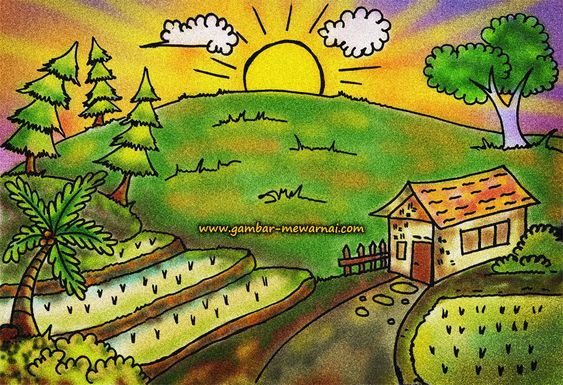 Contoh Mewarnai Gambar Pemandangan Ilustrasi Gambar Pedesaan Lukisan