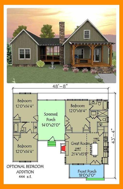 Plan 92318mx 3 Bedroom Dog Trot House Plan Tiny House Plans Small House Interior Design Small House Layout Vacation House Plans Dog Trot House Plans