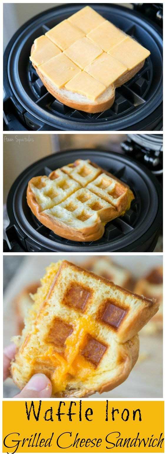 10 Waffle Maker Recipes That Will Save you Time: Waffle Iron Grilled Cheese Sandwich. OMG I am so doing this the next time we have grilled cheese!