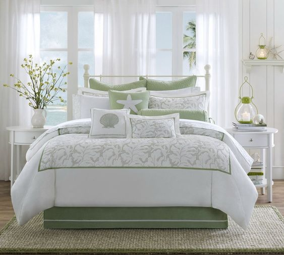 beach themed bedroom ideas for adults soft green and white comforter set for guest bedroom bedroom white bed set