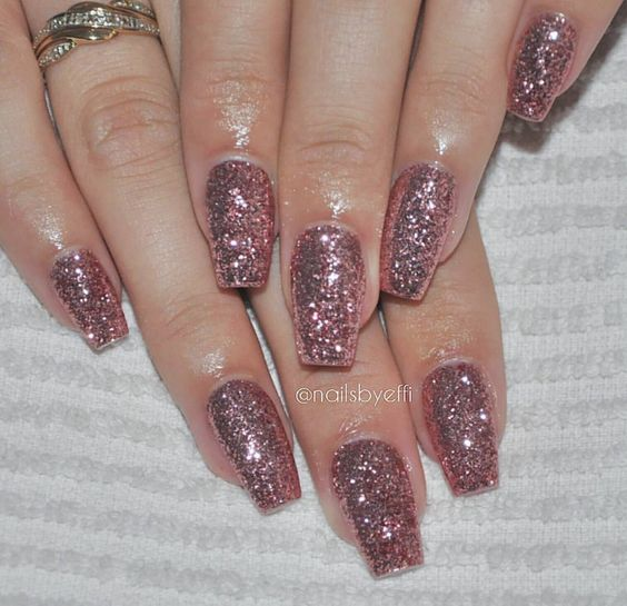 Rose Gold Nail Glitter: Square & Coffin Nails