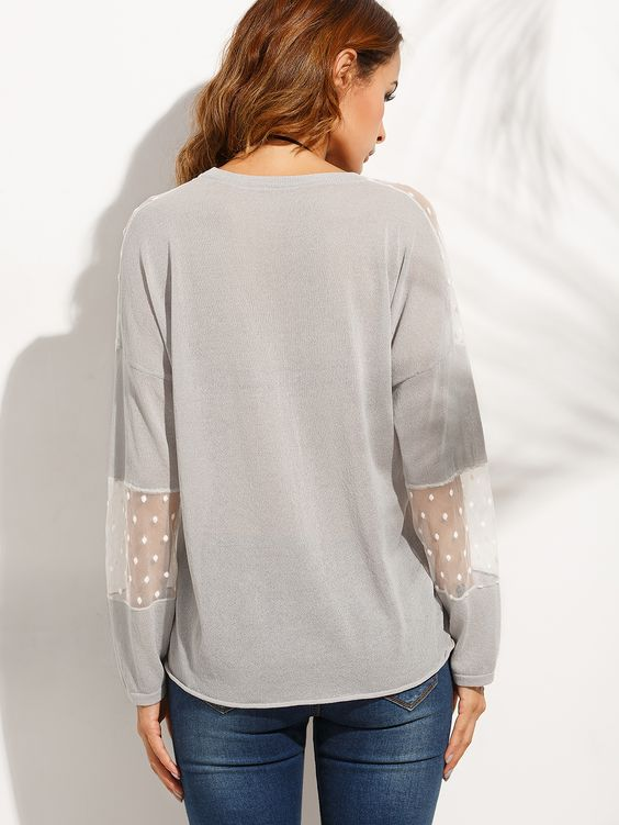 Light Grey Perspective Patchwork Knitted Top -SheIn(Sheinside)