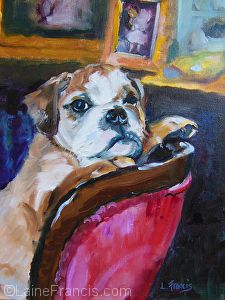 """HRH Gus Pup"" by Laine Francis Oil ~ 11 x 14"