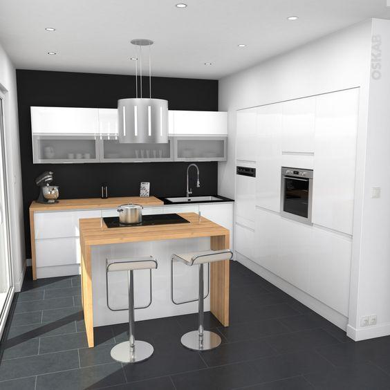 Bar design and cuisine on pinterest for Cuisine blanche sans poignee
