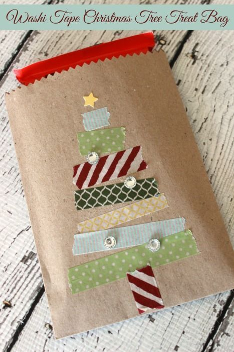 Make this Washi Tape Christmas Tree Treat bag in no time at all!: