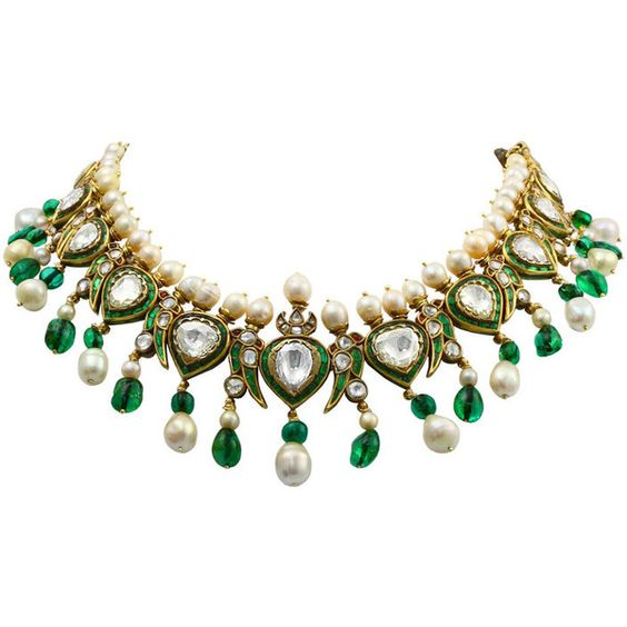Vintage Indian Natural Pearl Diamond Enamel Necklace (£350,740) ❤ liked on Polyvore featuring jewelry, necklaces, colar, enamel necklace, bead necklace, indian jewelry, indian diamond necklace and indian necklace
