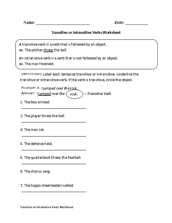 Transitive Verbs Worksheet Rcnschool