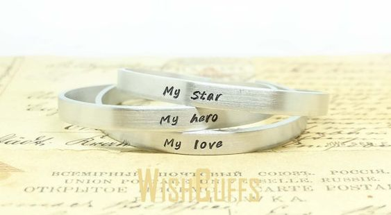 My Hero My Star My Love Bracelet- Personalized Cuff Bracelet, Gift for Mom, Mother's Day, Three Bracelet, Custom Bracelet