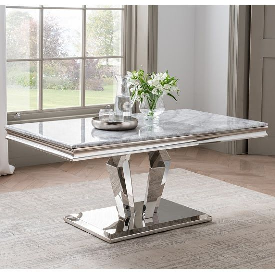 Arlesey Marble Coffee Table In Grey With Stainless Steel Legs