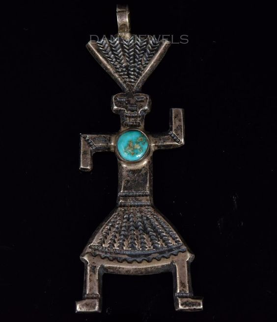 Vintage Old Pawn Navajo Dancing KACHINA Traditional Turquoise Sterling Pendant