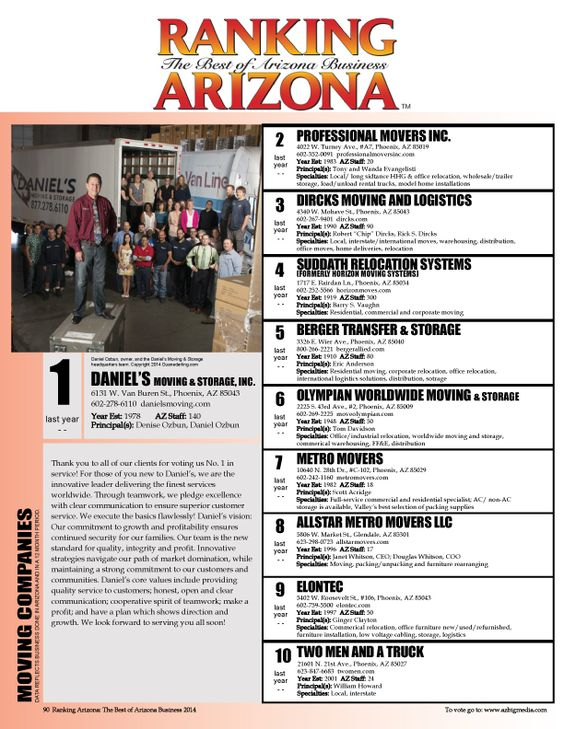 Danielu0027s Moving And Storage, Inc. Was Named The Number One Moving Company  In All Of Arizona By Ranking Arizona. Ranking Arizona Has Been The Premieu2026