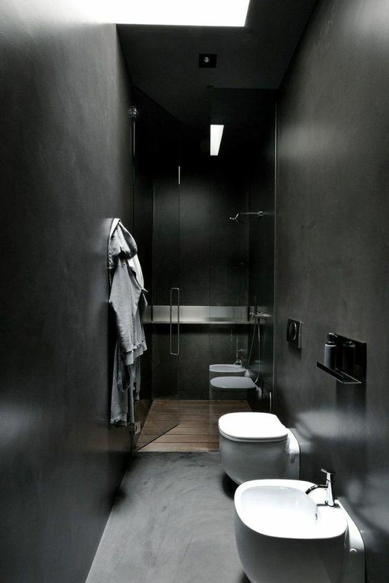 wandfarbe schwarz kleines bad dusche glaswand | schlafzimmer, Hause ideen