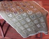 Wool Throw Scarf Embroidered with Hearts, Peace Signs and the Words MOM Olive Green Made in Italy