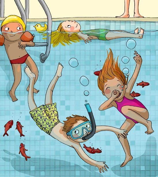 Verano, piscina - Ilustración autor desconocido