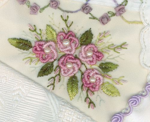 Bullion stitch embroidery from roses to wildflowers